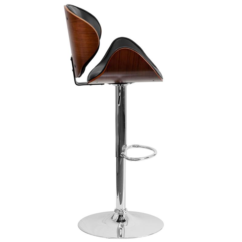 Flash Walnut Bentwood Adjustable Height Bar Stool | Nashville Office  Furniture