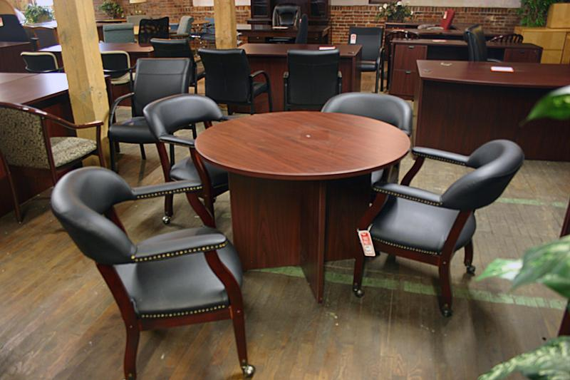 Compel Round Conference Table and Captains Chairs