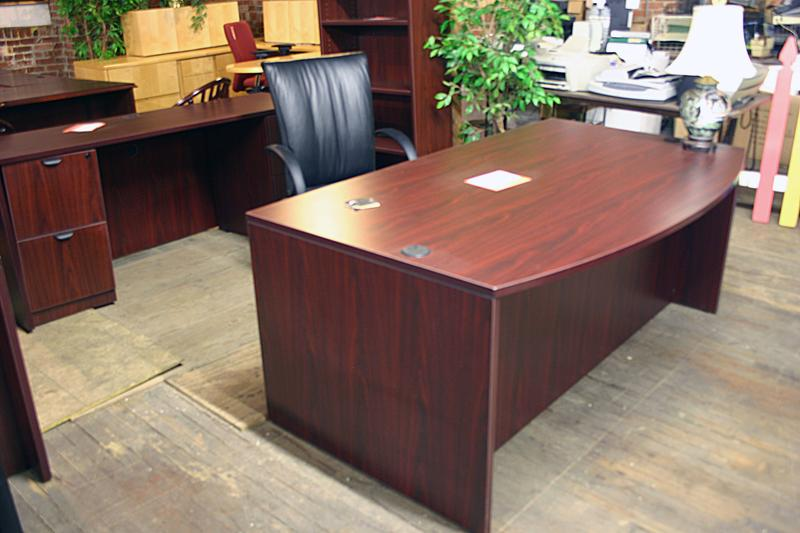 Compel Bowfront Desk and Computer Credenza