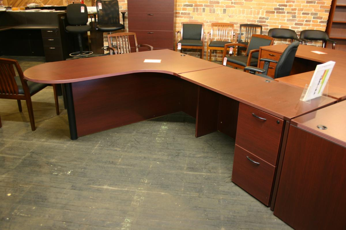 Cherryman Peninsula L Shape Desk with Modesty Panel