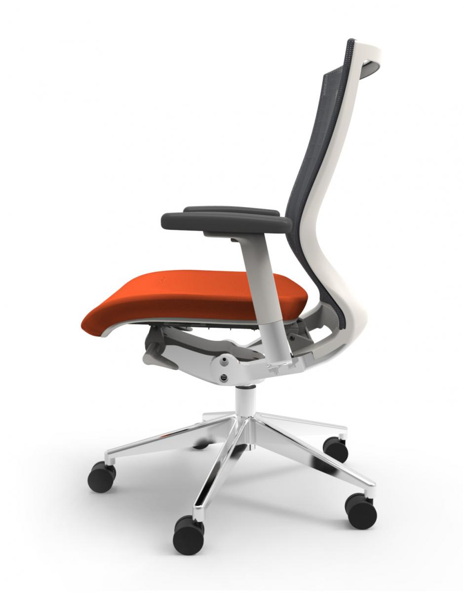 Cherryman IDesk Oroblanco Task Chair - White Frame with Orange Seat