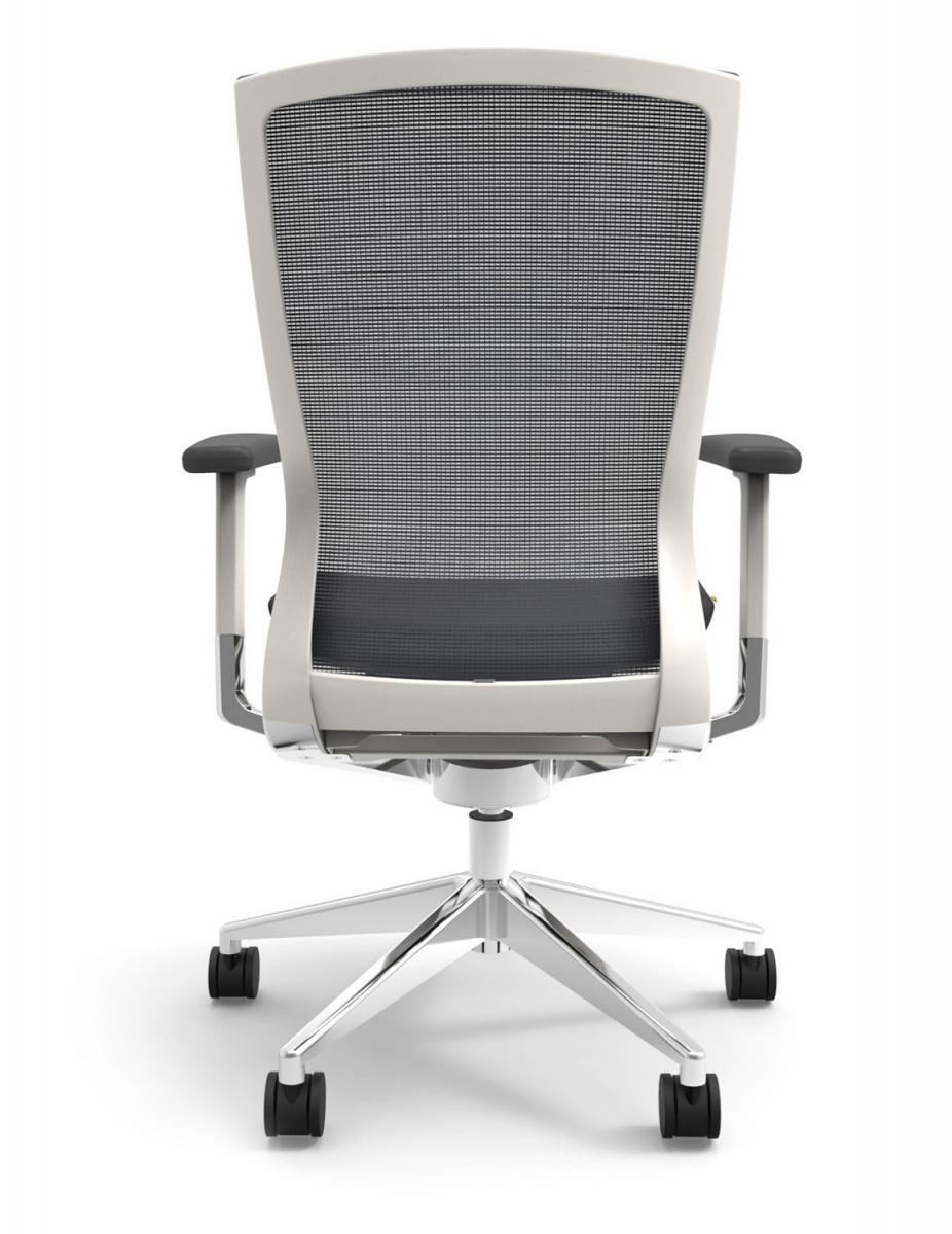 Cherryman IDesk Oroblanco Task Chair - White Frame, Grey Seat