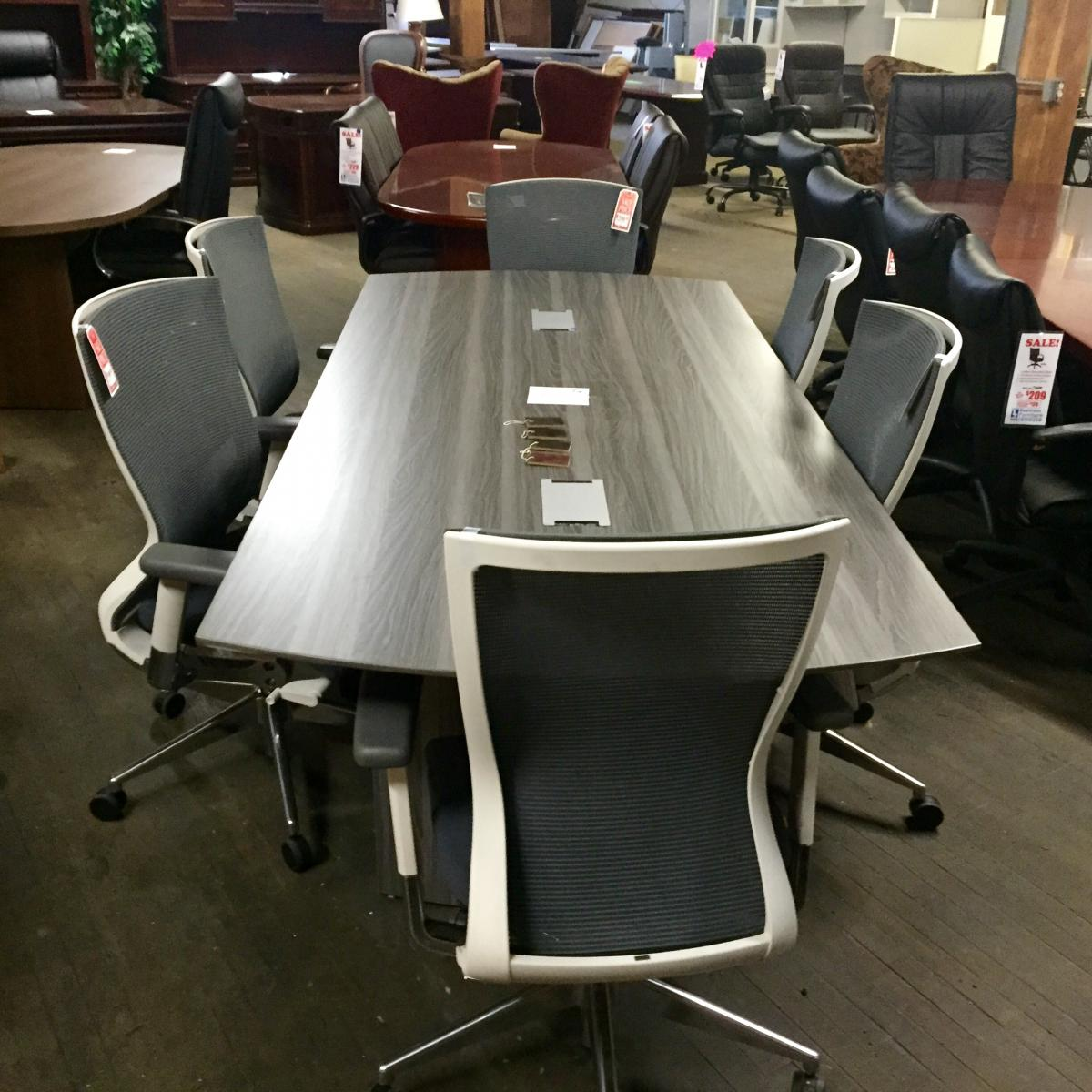 Mayline Medina Conference Table With Cherryman Idesk Orblanco Chairs Nashville Office Furniture