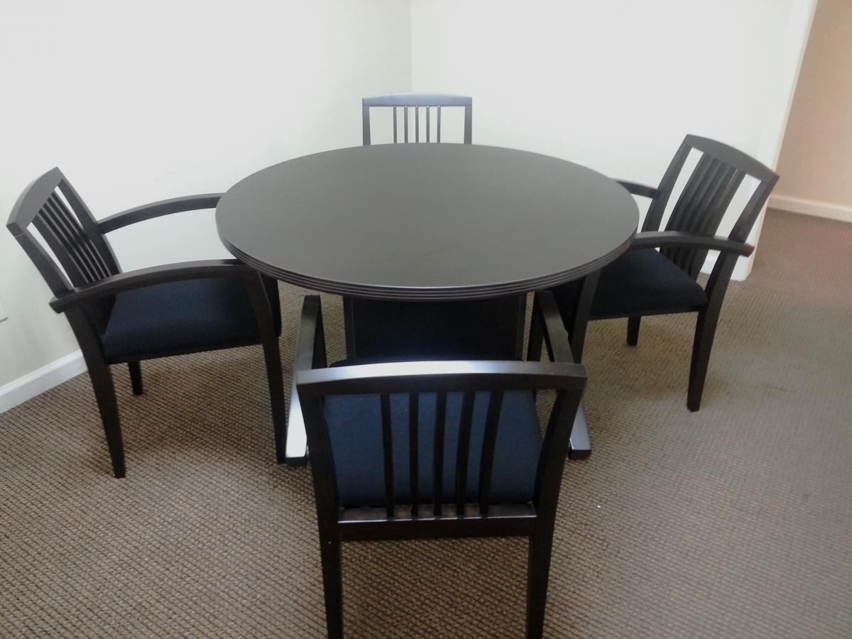 Cherryman Amber Series Round Table and Guest Chairs