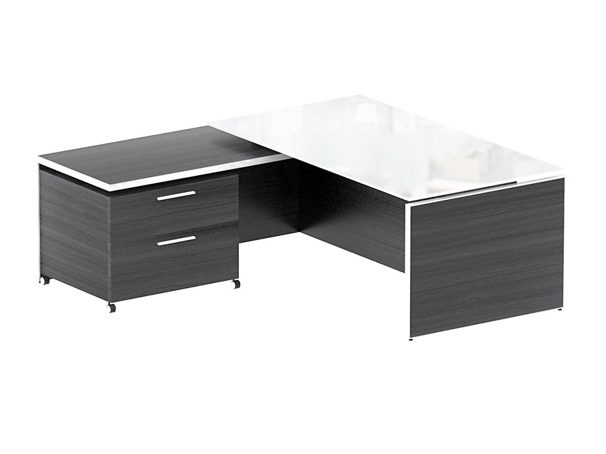 Corp Design Potenza Executive L Desk with White glass top