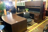 Compel Espresso Bowfront U Shape Desk with Hutch