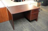 Straight front desk with single hanging ped