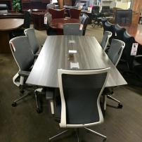 Mayline Medina Conference Table with Cherryman IDESK Orblanco Chairs