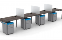 Clear Design Blade Series 4 Person Straight Pod Workstations